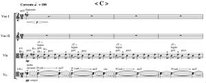 Figure 4 : Gervasoni, Six lettres à l'obscurité (une zwei Nachrichten), mes. 1-4